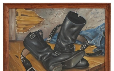Oil Painting of Discarded Boots, Late 20th Century