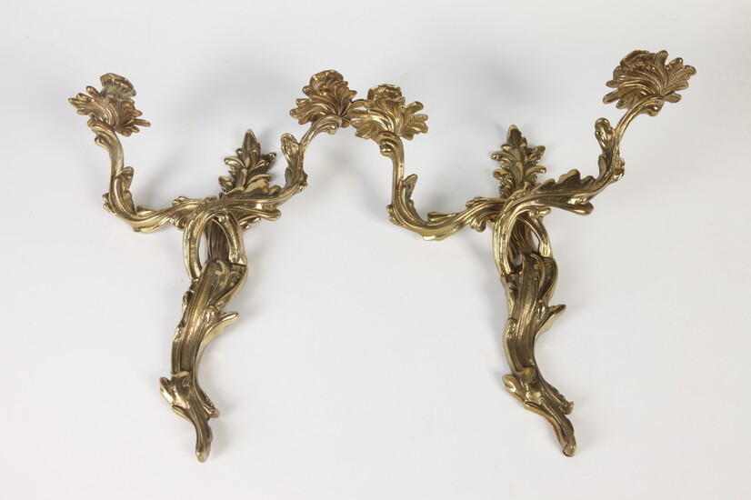 PAIR FRENCH NEOCLASSICAL STYL BRASS WALL SCONCES. Cast as flowering...