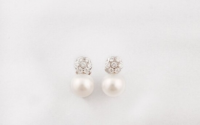 PAIR OF CULTURED PEARL, DIAMOND AND GOLD EARRINGS
