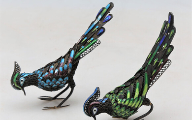 Pair of Chinese pheasants in silver filigree, late 19th Century- early 20th Century.