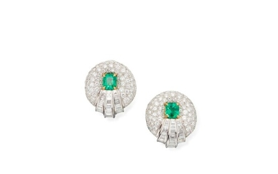 Pair of Diamond and Emerald Earclips