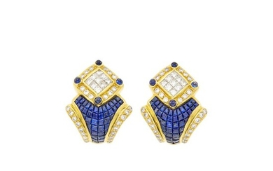 Pair of Gold, Invisibly-Set Sapphire and Diamond Earclips