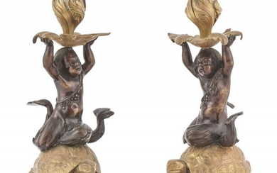 Pair of Louis XV Style Gilt and Patinated Bronze Figural Candlesticks