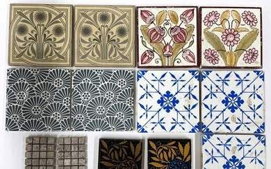 Selection of 19th century enamelled tiles to include three b...