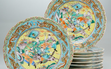 Set Chinese famille rose warrior plates