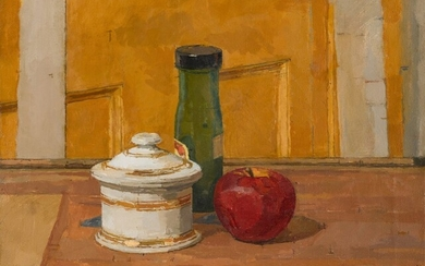 Still Life with Bottle, Apple and Jar, Euan Uglow