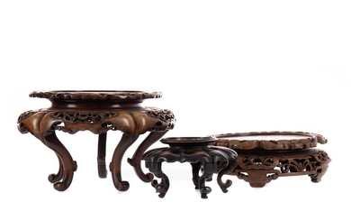 THREE EARLY 20TH CENTURY CHINESE HARDWOOD STANDS