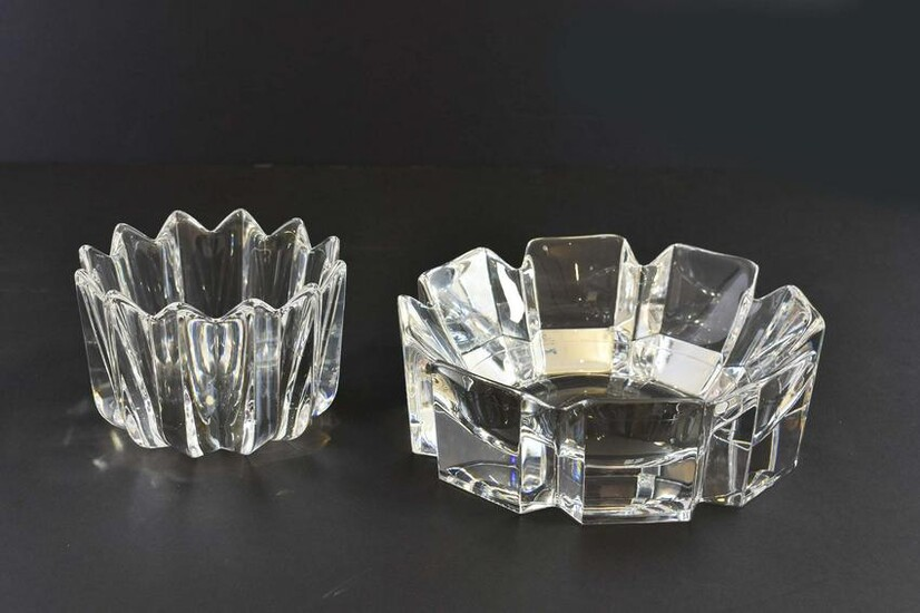 TWO ORREFORS COLORLESS GLASS BOWLS