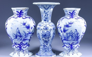 """Three Delft Blue and White Vases of """"18th Century""""..."""