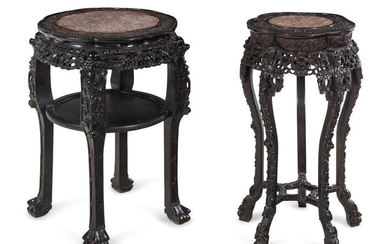 Two Chinese Export Marble Inset Hardwood Tables
