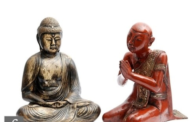 Two South East Asian painted Buddhist figures, to include a ...