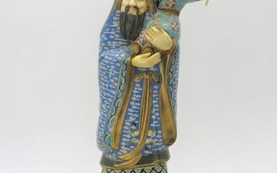 Vintage Chinese Cloisonne and Carved Figural Group