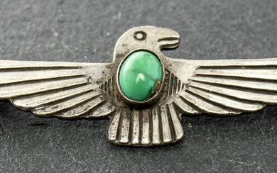 Vintage Native American Silver Turquoise Bird Pin