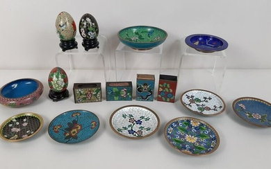 16 Pcs Cloisonne incl. Eggs and Matchbox Holders
