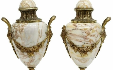 (2) FRENCH ORMOLU-MOUNTED MARBLE CASSOLETTES