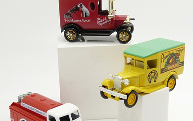 3 COLLECTIBLE TOY TRUCKS, BOXED.