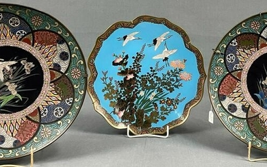 3 cloisonné plates. Probably Japan, China old.