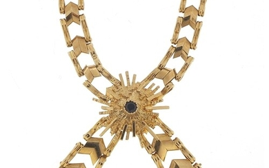 9ct gold bow design necklace set with a sapphire, 38cm in le...