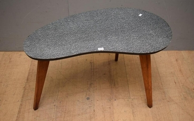 A 1950S AUSTRALIAN MADE LAMIMEX TOPPED AND WOODEN LEGGED PALLETE SHAPED COFFEE TABLE (41H x 76W x 43D CM) (LEONARD JOEL DELIVERY SIZ...