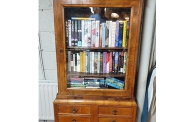 A 19th Century Walnut Display Cabinet on stand with twin dra...