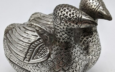 A 19th century Cambodian silver betel box in the form
