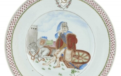"""A Chinese Crested """"Hussar"""" Porcelain Plate"""