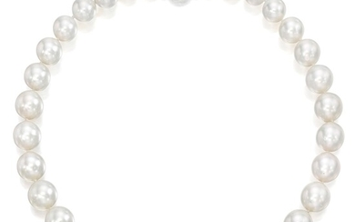A Cultured Pearl, Diamond, and White Gold Necklace