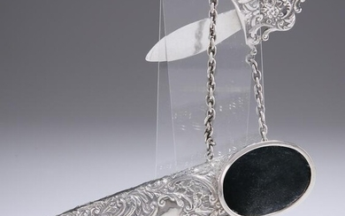 A LATE VICTORIAN SILVER CHATELAINE SPECTACLES
