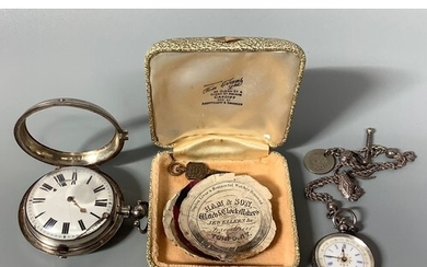 A George IV silver pair-cased pocket watch with white enamel...