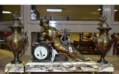 A LATE 19TH CENTURY FRENCH BRONZED SPELTER AND MARBLE FIGURA...