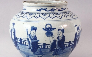 A LATE 19TH / EARLY 20TH CENTURY CHINESE BLUE AND WHITE JAR,...
