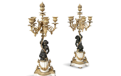 A PAIR OF 19TH CENTURY ORMOLU AND BRONZE...