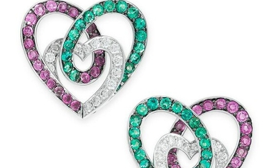 A PAIR OF RUBY, EMERALD AND DIAMOND EARRINGS each