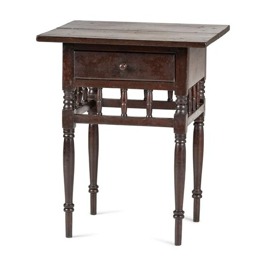 A Sheraton Turned Cherrywood One-Drawer Work Table
