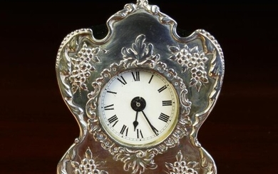 A Small Victorian Silver Cased Boudoir Clock/Watch Holder by...