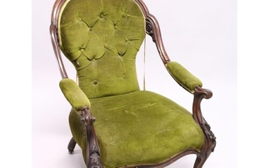 A VICTORIAN MAHOGANY SHAPED BACK ARMCHAIR, open arms, serpen...