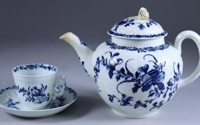 A Worcester Blue and White Porcelain Moulded Cup and...