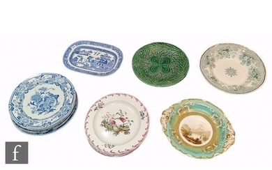 A collection of assorted 19th Century plates to include a Gu...