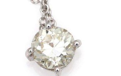 A diamond necklace with a pendant set with a diamond weighing app. 1.04 ct., mounted in 18k white gold. Light Yellow/VS. L. app. 42 cm. – Bruun Rasmussen Auctioneers of Fine Art
