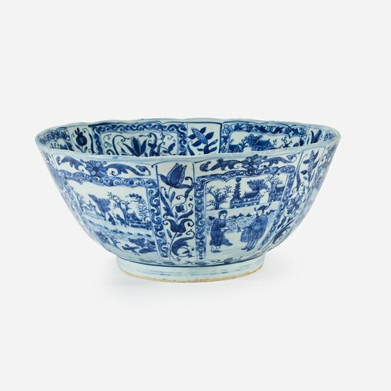 A large Chinese blue and white porcelain bowl