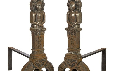 A pair of large cast iron fire dogs, 17th century style, the uprights each cast with a figural top, each with plinths featuring a fleur-de-lis ornament and bearing date '1640', to twin splayed feet modelled as laurels surmounted with heraldic crest...