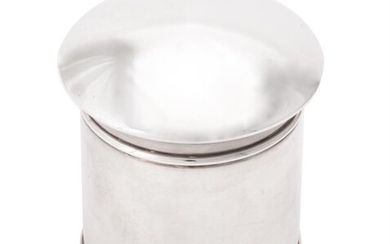 A silver cylindrical box and cover by Sampson Mordan & Co.