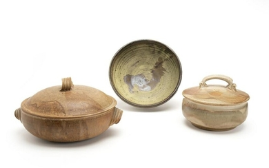 A three-piece group of studio pottery