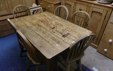 A vintage pine Kitchen Table, with single frieze drawer, pai...