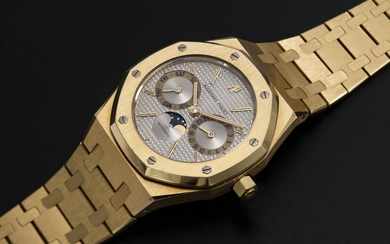 AUDEMARS PIGUET, A GOLD ROYAL OAK DAY-DATE WITH MOON-PHASE, REF. 25594BA
