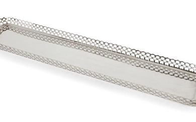 An Edwardian silver sandwich tray, Sheffield, c.1904, James Dixon & Sons Ltd., of elongated rectangular form with pierced sides and shaped handles, 60.3cm long, 13cm wide, approx. weight 29.4oz