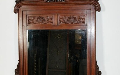 Art Nouveau style carved mahogany mirror