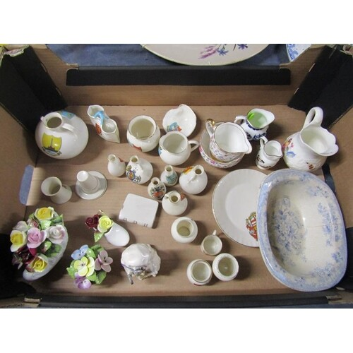 BOX TO INCL CRESTED WARES, PORCELAIN POSY'S, BESWICK FIGURE ...