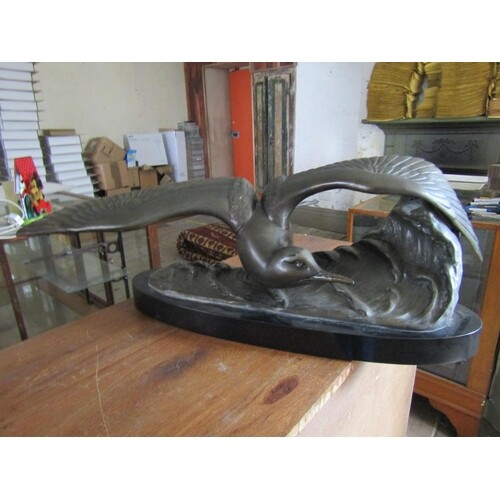 Bronze Sculpture Turn On The Wing Mounted on Oval Form Marbl...