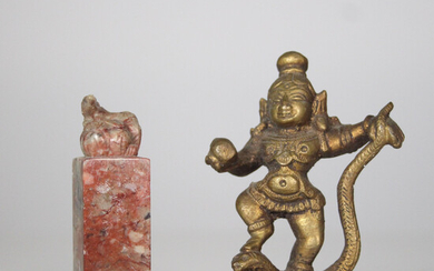 Bronze sculpture 'Indian Godhead' and seal stamp with dragon motif, China, 2 parts.